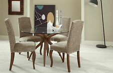 Bramford Round Glass Dining Table and 4 Solid Wood Chairs Quality 1.2m Table