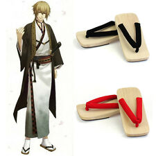 Japanese Mens Flat Geta Clog Kimono Flip-flop Sandal Wood Slipper Cosplay Shoes