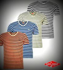 New Mens Designer Lee Cooper Lightweight Yarn Dye V Neck T Shirt Top Size S-XXL