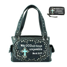 Bible Verse Concealed Carry Western Handbag and Matching Wallet in 5 Colors
