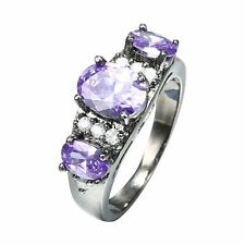 New Exquisite Black Gold Amethyst Ring Diamond Fashion Crystal Jewelry For Women