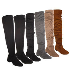 LADIES WOMENS OVER THE KNEE THIGH HIGH LOW HEEL FLAT STRETCH FAUX SUEDE BOOT