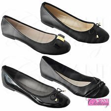 NEW WOMENS PU BOW CASUAL BLACK PUMPS BALLERINA LADIES DOLLY SHOES WORK SCHOOL