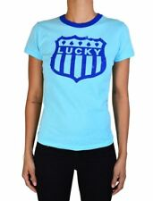 NEW LUCKY BRAND JEANS JUNIORS 'LUCKY' PRINTED COTTON T-SHIRT SOLID IN COBALT