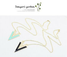 New Fashion European Gold Plated Hollow Out Enamel Triangle Pendant Necklace