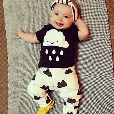 Baby Boy Summer Cartoon Printed T-shirt + Long Pants Clothing Suit Popular