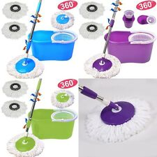 360° Rotating Easy Floor Mop Microfiber Spining Magic Spin Mop Bucket 2 Heads