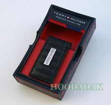 NIB Tommy Hilfiger Magnetic Money clip w/Metal Logo / Black Herringbone Leather