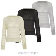 Ladies Womens Knitted Long Sleeve Sheer Top Knitwear Jumper