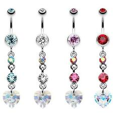 Cascading Prism Heart Belly Button Ring Aqua Clear Pink Red Navel Fancy AB CZ