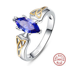 Marquise Solitare Tanzanite 100% 925 Sterling Gemstone Silver Rings Size 6 7 8 9