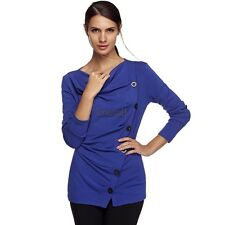 Women Casual Long Sleeve Draped Neck Cotton Blend Blouse Pullover Jumper T LM