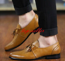 Men's Dress Leather Slip On Oxfords Brogue Pointy Tassels Wedding Casual Shoes