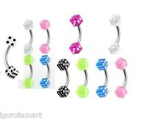 New Colorful 3mm UV Dice Eyebrow Bar Rings Barbell 8mm Curve Bar