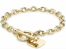 9ct YELLOW Solid GOLD Charm Heart T-Bar Belcher Bracelet 20cm/8Inch UK Gift Box