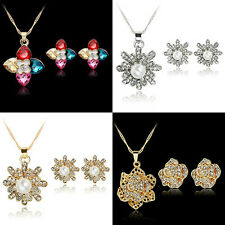Women Rhinestone Flower Bead Pendant Necklace Earrings Jewelry Set Gift Fashion