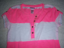 Girls Super Cute Justice Pink / White Striped Top Shirt Size 6  NEW
