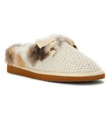ROCKET DOG Women's Cream Barstow Beany Fabric- Fluffi Fur Slipper Shoes 7.5 9