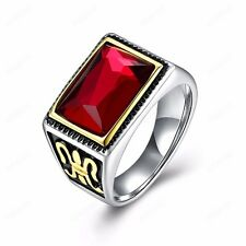 Men's Titanium Stainless Steel 18K Gold & Silver Plated Siam Red Ring Size 9-11