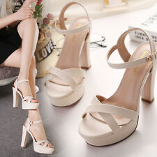 Sexy Women Sandals Platform Strappy Buckle Stiletto High Heels Party Shoes CM652