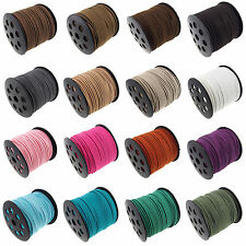 Genuine leather Suede Cord Beading Thread Lace Flat 3mm 14 Colors U Pick