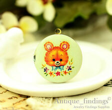1PCS Vintage Bear Locket Pendant , For Handmade photo Locket Necklace HLK136E