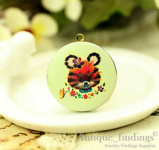 1PCS Vintage Baby Tiger Locket Charm, Handmade Photo locket Necklace HLK136B