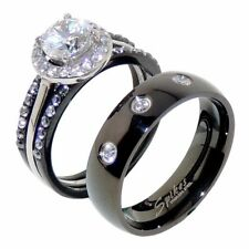 4 PCS His Hers Black IP Stainless Steel Wedding Ring Set /3 CZs Mens Band