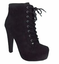 Speed 98 Women Ankle Boots Thick Heel Black Suede Lace Up Booties Platform SCALA