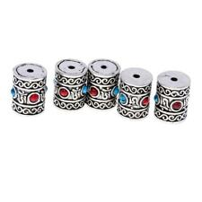 5Pcs Tibetan Silver Tone Charms Carved Tube Beads for DIY Crafts 13x15mm 16x20mm
