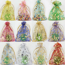 100Pcs Rose&Gold Organza Wedding Favor Party Gift Bag Candy Bags Pouches 12X9CM