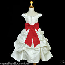IVORY SPAGHETTI STRAP WEDDING PAGEANT FLOWER GIRL PAGEANT DRESS QUINCEANERA 844