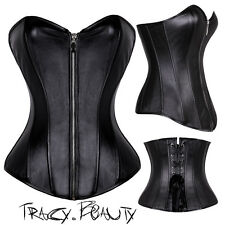 Sexy Lace Up Black Strapless Women Corset Top Bustier Faux Leather Plus S-6XL VG