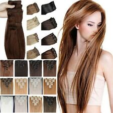 2015 real Thick 8 Piece CLIP IN HAIR EXTENTIONS FULL HEAD STRAIGHT CURLY WAVY US