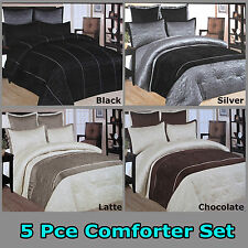 5 Pce - QUEEN Comforter + 2 Pillowcases + 2 Euro Shams  - BLACK GREY LATTE CHOC