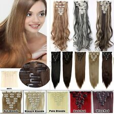 100%  Real Human 18 Clips In Hair Extension Human Ombre Hairpieace  Blonde  H723