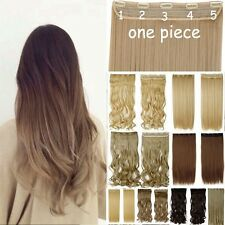 Human Thick Clip In Hair Extension Long Curly Ombre One Piece 4/3 Full Head H728
