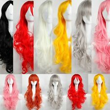 Cosplay Full Wig Curly Hair Real Heat Resistant Wigs Blonde Back Pink Grey Red L
