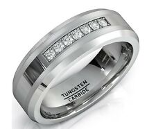 8mm Tungsten Carbide Ring Trillion with Brilliant CZ DIAMNDS Mens Wedding Band