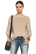 VINCE ENGINEERED RIB KNITTED COTTON SWEATER in CASHEW BEIGE sz XXS, L  $325