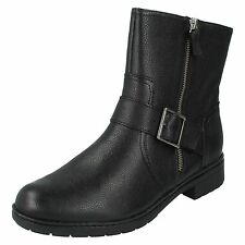 MERRIAN LYNN LADIES CLARKS D FIT LEATHER BUCKLE ZIP UP BIKER CASUAL ANKLE BOOTS