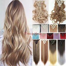 US Extra Thick Full Head 8Pieces Clip In Hair Extension As Human Hair Ombre H95