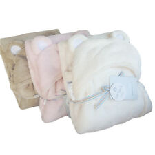 Newborn Fleece Baby Hooded Blanket Cape Unisex Wrap White Pink Bear Swaddle