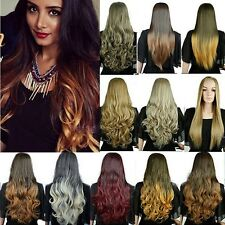 Real Silky Thick Natrual Straight Wavy Curly Half Wig 3/4 Wigs Ombre Hair Blonde