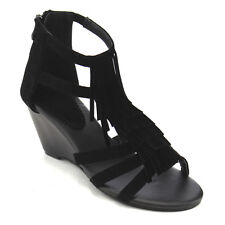 Top Moda CB96 Women's Wedge Heel Ankle Strap Fringe Sandals BLACK New In Box