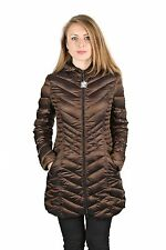 LAUNDRY BY SHELLI SEGAL Bronze Down Packable Puffer Coat Chevron Jacket Hooded