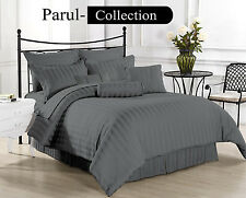 New 600-800-1000-1200TC Grey Striped 1000TC 100% Egyptian Cotton US Bedding Item