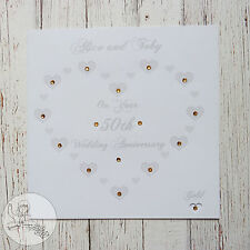 Handmade Personalised 50th Wedding Anniversary Card Hearts Gift Gold Marriage