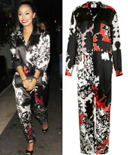 Topshop UNIQUE Runway Silk Satin Print Jumpsuit Boilersuit 8 10 12 14 16 £250