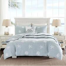 Serene Ocean Blue Coastal Seashell Coral 4-PC 100% Cotton Coverlet Bedspread Set